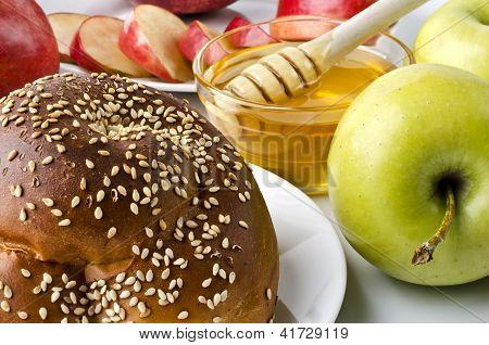 Still Life Closeup - Challah, Apples And Bowl Of Honey