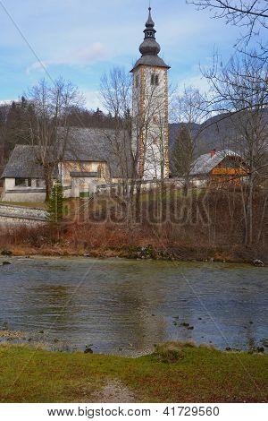 Rural church and river