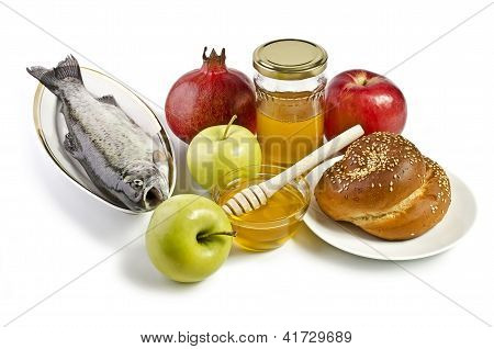Still Life With Apples, Pomegranates, Fish, Challah And Honey