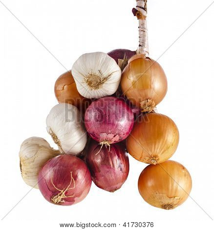 hanging bunch bundle onion and garlic clove isolated on white background
