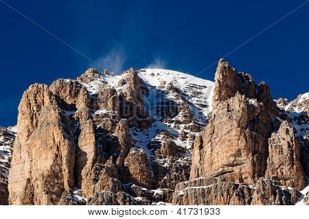 Passo Pordoi Peak Near Ski Resort Of Canazei, Dolomites Alps, Italy