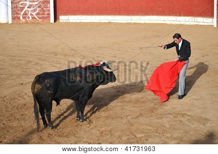 Toreador during corrida show in Fontanar, Spain.