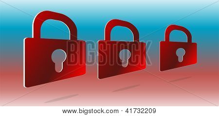 Security Concept: Set Of Red Padlocks On Abstract Background