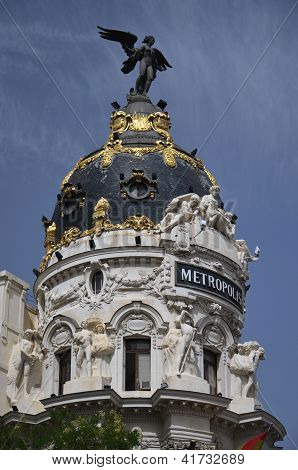 The dome of Metropolis building situated on Gran Via street in Mad