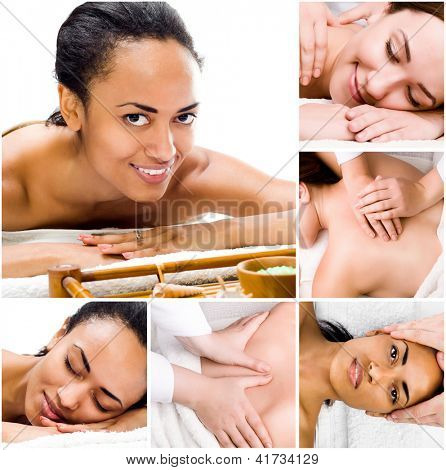 Pretty young women relaxing in the spa salon. collage