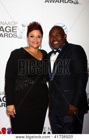 LOS ANGELES - FEB 1:  Tamela Mann, David Mann arrives at the 44th NAACP Image Awards at the Shrine Auditorium on February 1, 2013 in Los Angeles, CA.
