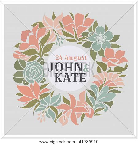 Floral Wreath - Vector Wedding Design