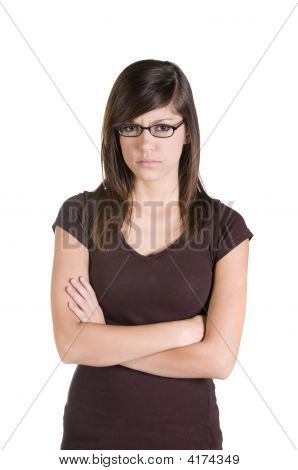 Teenage brunette girl with glasses on white background