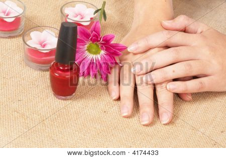 Hands Of A Woman In A Spa