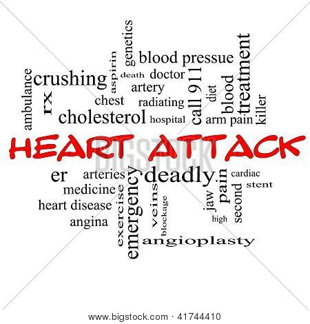Heart Attack Word Cloud Concept In Red Caps