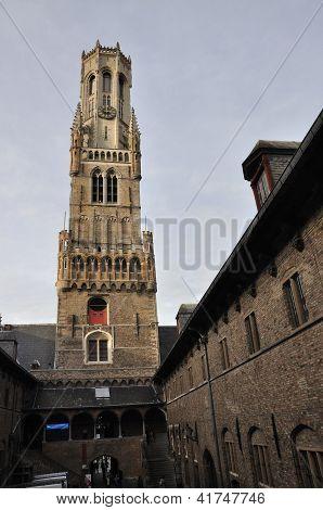 Belfry And Market Place In Bruges, Belgium