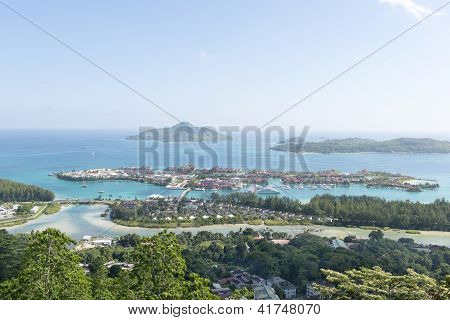 Aerial View On The Coastline Of The Seychelles Islands And Luxury Eden Island From Victoria Viewpoin