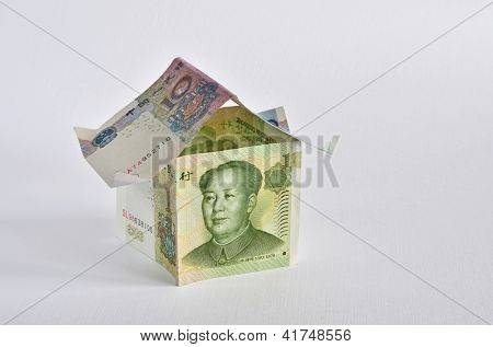 House made of chinese yuan banknotes