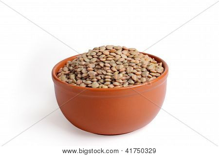 Lentils In A Bowl On A White Background