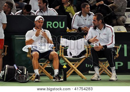 Resting tennis player