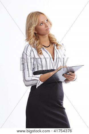 Blonde secretary wondering