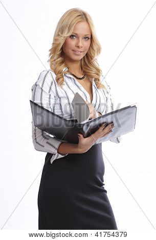 Blonde businesswoman with documents