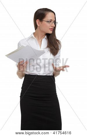 Stressed businesswoman with papers gesturing