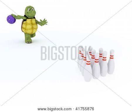3D render of a tortoise ten pin bowling