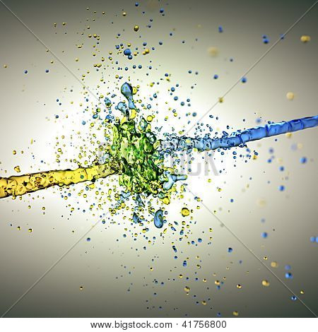 An image of a water splash yellow and blue