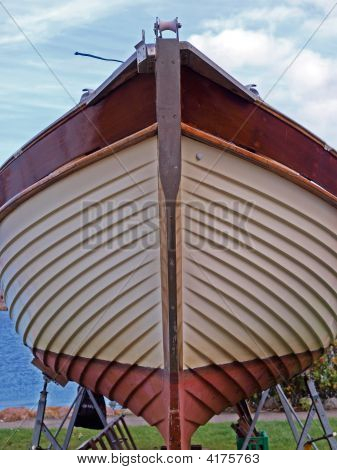 Prow Of A Wooden Yacht Boat