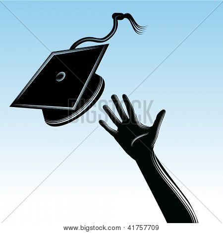 An image of a graduate tossing a cap.