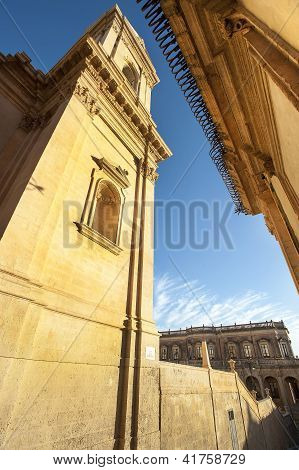 baroque church and ancient build in noto
