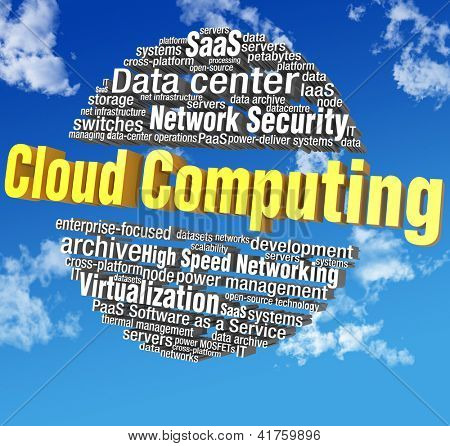 Cloud computing IT technical word tags in blue sky words are on clipping path