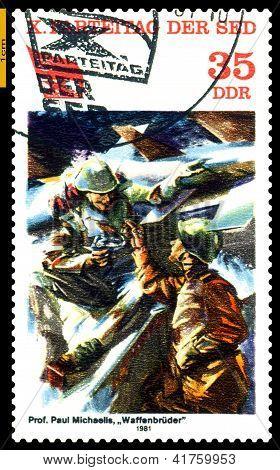 Vintage Postage Stamp.  Brotherhood In Arms.