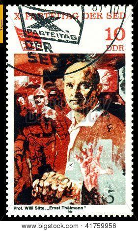 Vintage Postage Stamp.  Ernst  Thalmann.