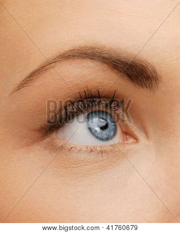 bright closeup picture of woman's eye