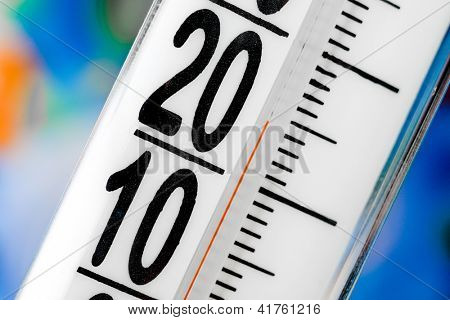 thermometer scale close up on a blur background