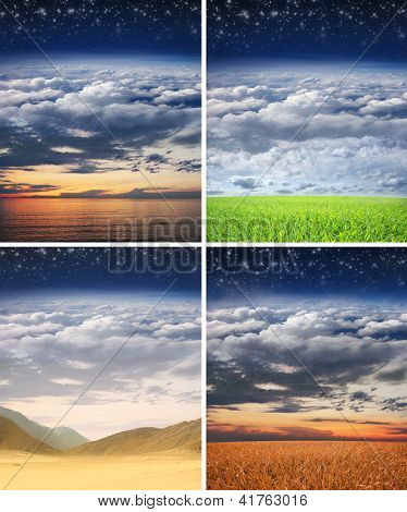 Collage made of some different scenic landscapes