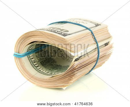 Twisted bundle 100 dollar bills isolated on white