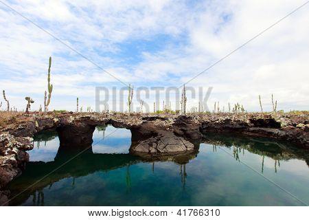 Landscape of Los Tuneles, Galapagos islands
