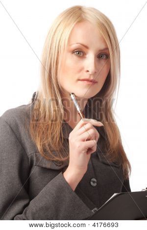 Woman Holding Pen And Clipboard