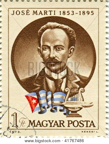HUNGARY - CIRCA 1973: Postage stamps dedicated to Jose Marti (1853-1895), Cuban poet, an essayist, journalist,  revolutionary philosopher, translator,  professor, publisher, and theorist, circa 1973.