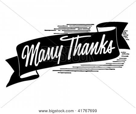 Many Thanks Banner - Retro Clipart Illustration