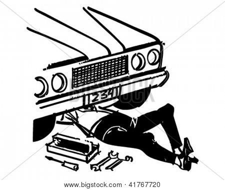 Mechanic Under Car - Retro Clipart Illustration