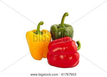 Yellow Red And Green Sweet Peppers Isolated On White Background