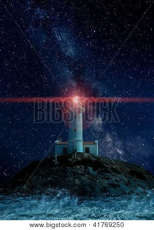 Lighthouse glowing in a starry night