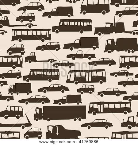Seamless Abstract Cartoon Background With Many Cars.