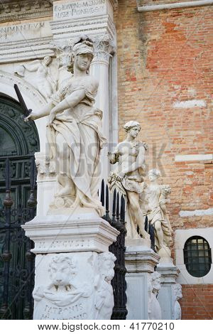 Classical sculptures near the main gate of Venetian Arsenal