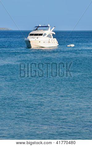 Luxury motor yacht on a sea