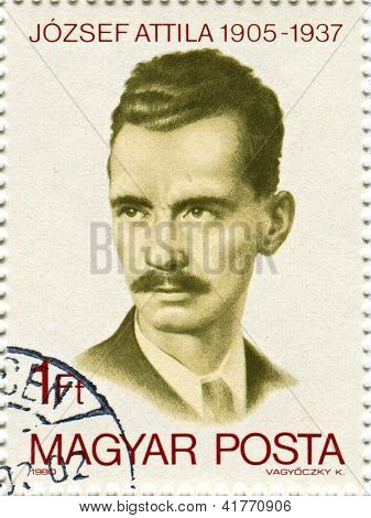 HUNGARY - CIRCA 1980: Postage stamps printed in Hungary dedicated to Attila Jozsef (1905-1937), Hungarian poet, circa 1980.