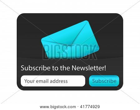 Subscribe To Newsletter Web Form With Blue Letter