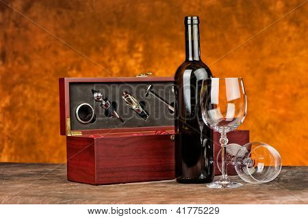 Wine Case With Wine Bottle