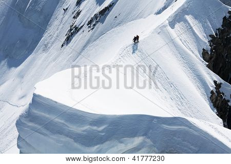 Alpinists crossing Rochefort Ridge, Haute Savoie, France
