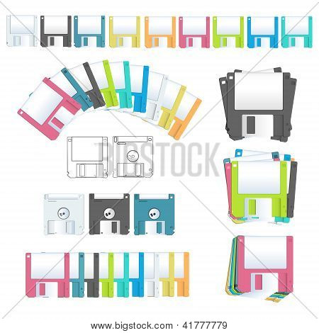 Collection Diskettes. Vector Design.