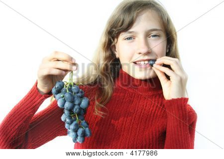 Girl And Grapes
